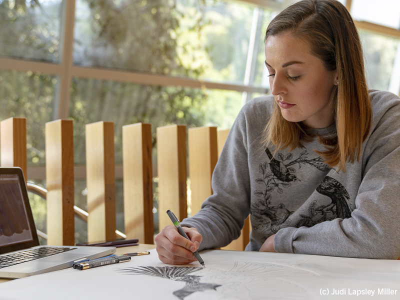 Sketch artist, Hannah Shand, works on a detailed tūī portait