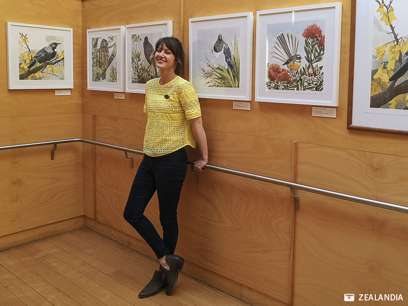 Artist Emma-Kate Moore with her bird art prints